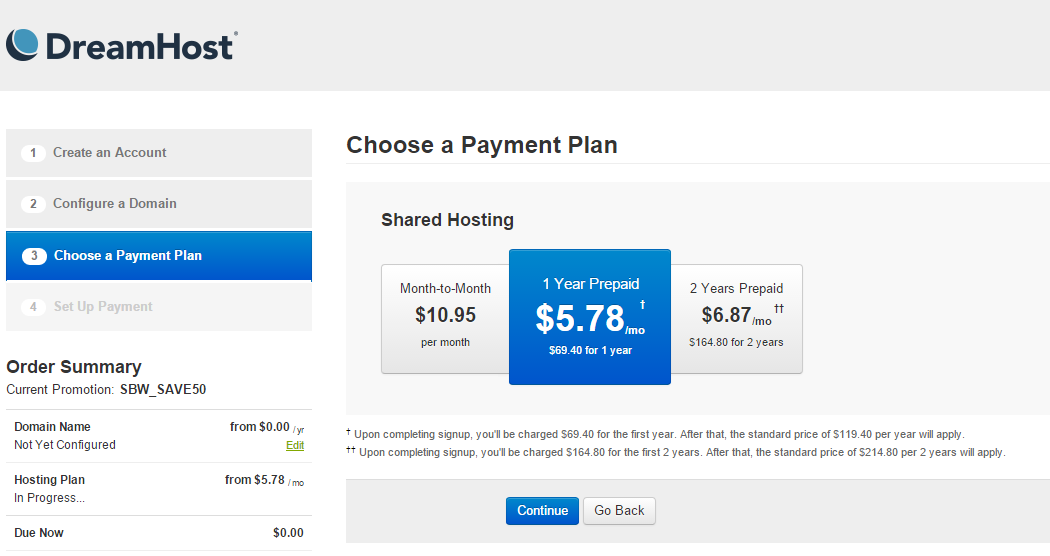 Dreamhost Sign Up Hosting Plan