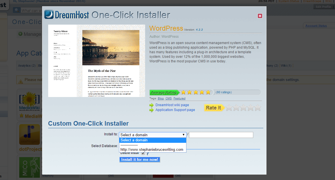 Dreamhost WordPress Installer